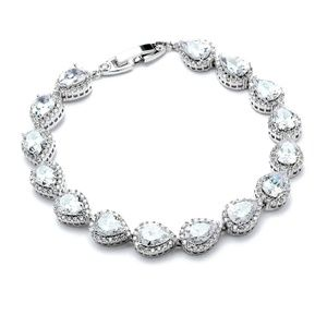Jewelry - Platinum Plated Tennis Bracelet with Pear-Shaped C